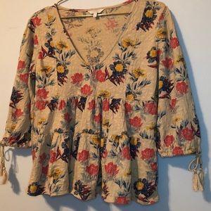 Lucky Brand tan boho floral peasant blouse v-neck